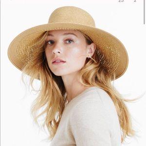 J. CREW NWOT Straw Hat Wide Brim with Ribbon